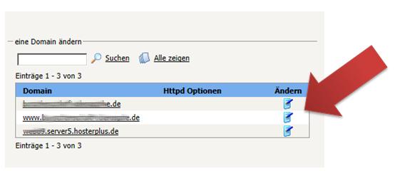 HTTPD Spezial Ausgabe der möglichen Domains