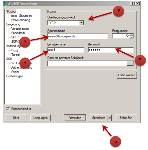 Eingabefenster zum anlegen einer SFTP Verbindung